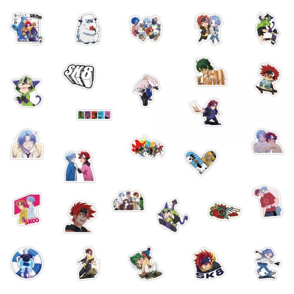 10 30 50PCS Anime SK8 the Infinity Cool Cartoon Stickers Graffiti DIY Motorcycle Travel Luggage Guitar 4 - SK8 The Infinity Store