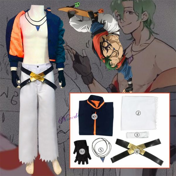 Anime SK8 The Infinity Joe Kojirou Nanjou Cosplay Costume Full Set Jacket Belt Necklace Wig Party - SK8 The Infinity Store